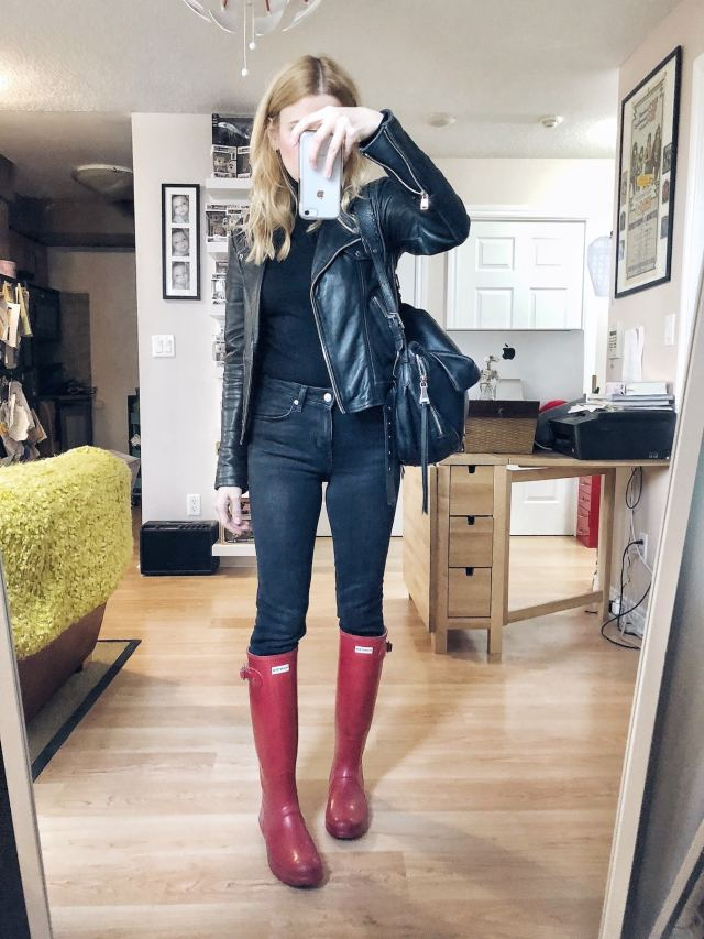 What I Wore. I am wearing a black turtleneck, black skinnies, a leather moto, and red Hunter Boots.
