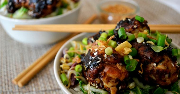 Asian Rice Bowl with Sticky Chicken