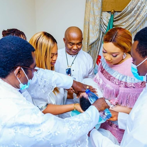 Imo State Governor Hope Uzodinma Shares Baptism Photos Of His Twin Daughters