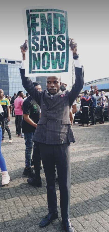 Man Joins #Endsars Protest After His Court Wedding In Lagos (Photos)