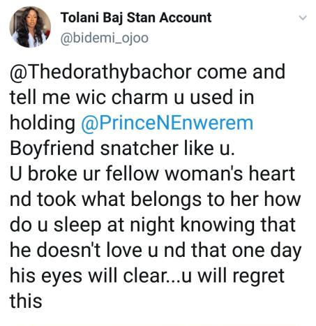 """""""How Do You Sleep At Night? Boyfriend Snatcher"""" – Lady Calls Out BBNaija Dorathy For Allegedly """"Snatching"""" Prince"""