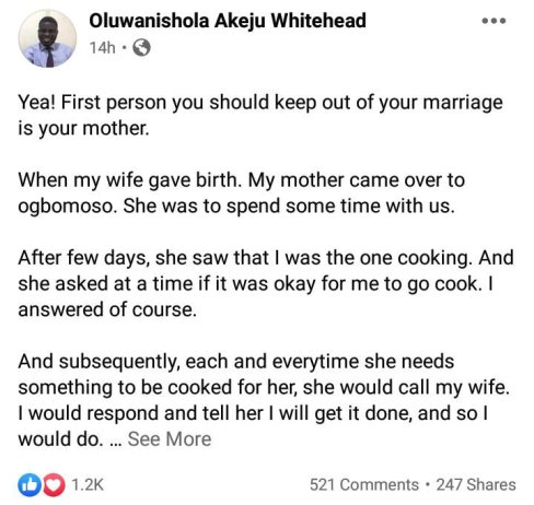 Keep Your Mother Out Of Your Marriage Problems - Man Advises