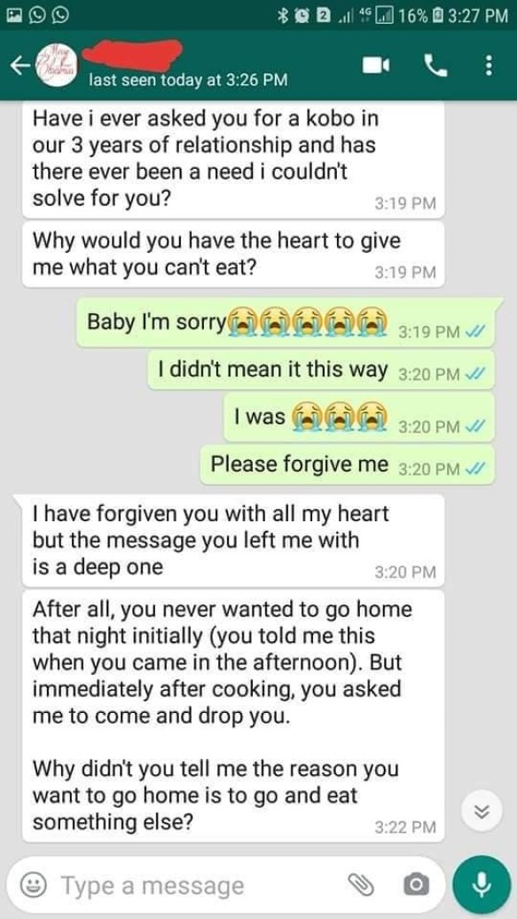The Chat That Ended A 3-Year-Old Relationship (Photos)