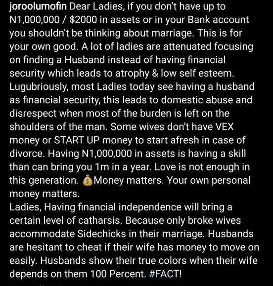 """""""Only Broke Wives Accommodate Side Chics In Their Marriage"""" – Relationship Expert, Joro"""