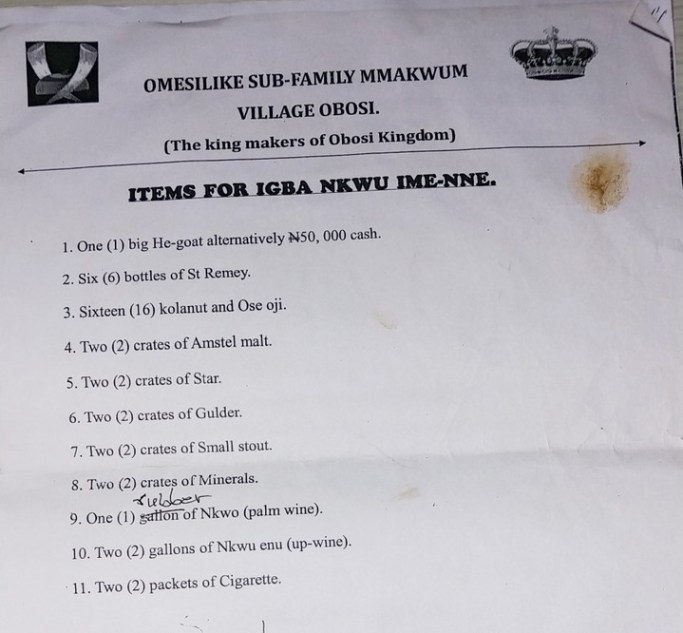 Traditional Marriage List In Anambra