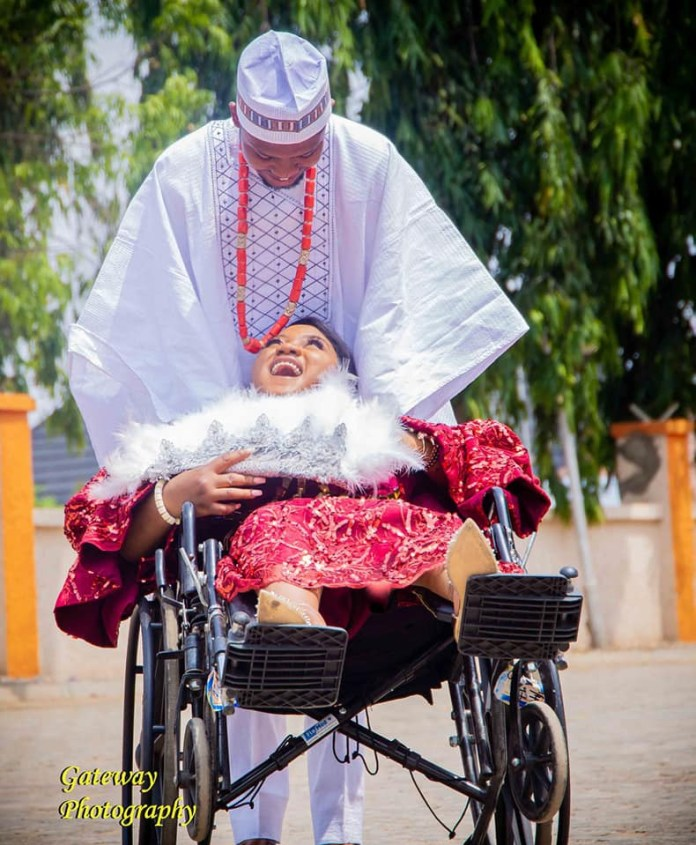 """""""I promise you a love that is true and enduring"""" - Physically challenged Nigerian pharmacist extols her husband as she shares photos from their wedding"""