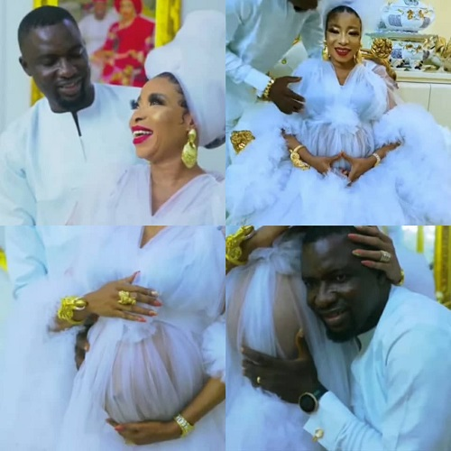 Lizzy Anjorin And Her Husband, Lateef Lawal Welcome First Child (Photos)