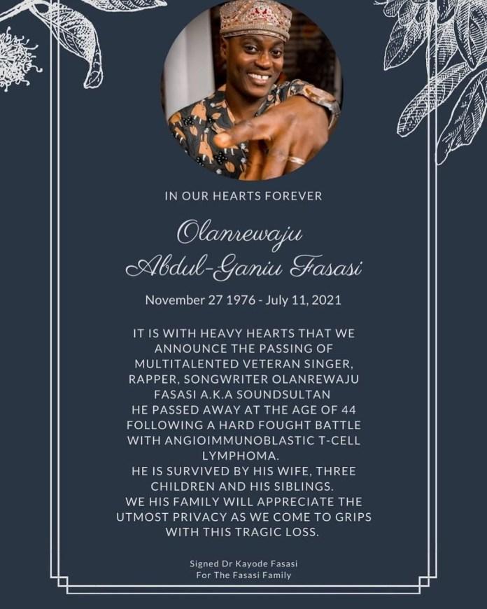 Family and friends mourn the demise of legendary Olanrewaju Fasasi aka Sound Sultan