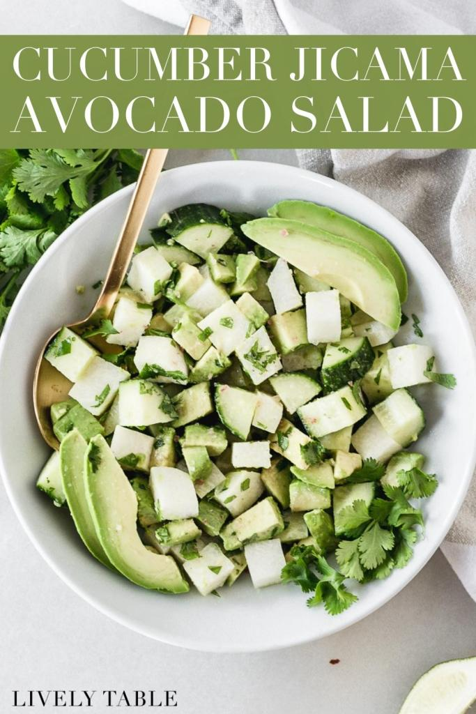 Avocado, Jicama and Cucumber Salad | Creamy avocado and crunchy jicama and cucumber combine to make a deliciously simple salad that is sure to satisfy! It's not only easy to make, but also gluten free, dairy free, vegan, and loaded with healthy fats. | via LivelyTable.com @LivelyTable