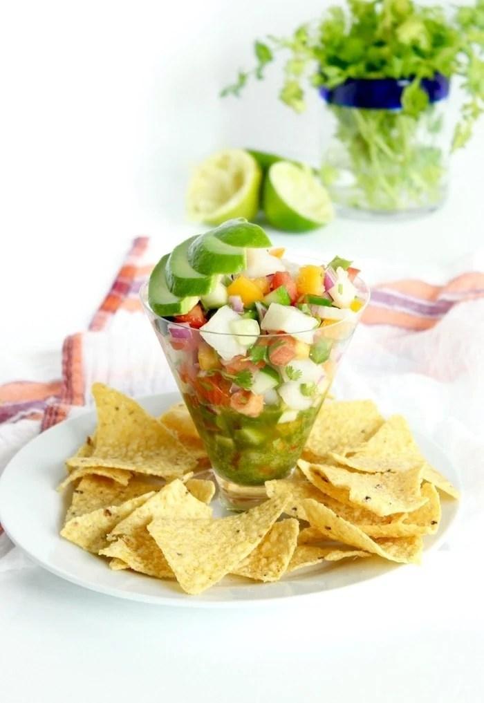 A fresh and authentic Mexican Ceviche recipe inspired by our travels to Cabo San Lucas. It's a delicious appetizer or light dinner! (gluten-free, dairy-free)