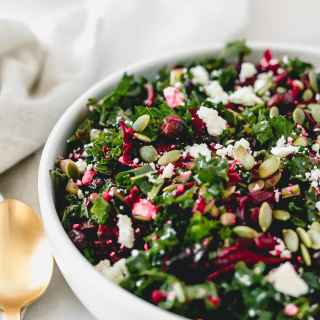 This delicious shredded beet kale salad is loaded with nutritious powerhouses like kale, roasted beets, pumpkin seeds, and dried cherries. It's the perfect winter salad! (gluten free, vegetarian, vegan option) via livelytable.com
