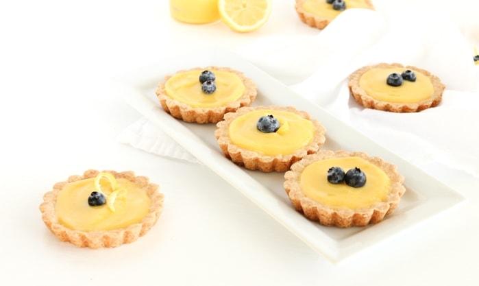 Mini Meyer Lemon Tarts with Shortbread Crust