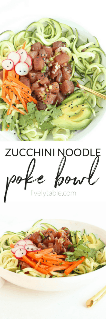 If you love poke or sushi, you'll love this Zucchini Noodle Poke Bowl! It's a fresh and delicious meal that requires no cooking and is full of fresh vegetables. (gluten-free, dairy-free)   via livelytable.com