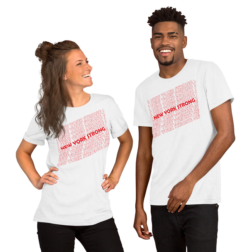 Man and Woman wearing White New York Strong t-shirts