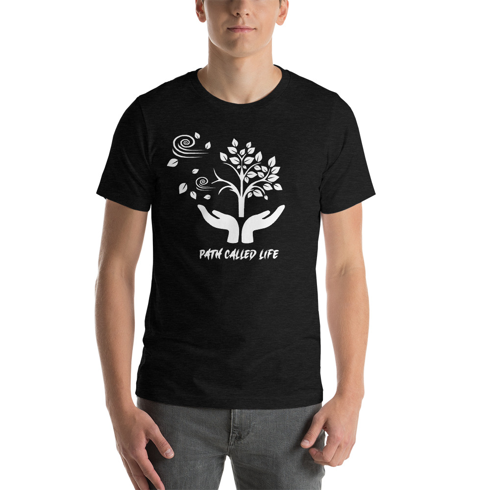 Black and White T-shirt Mock Up of a Path Called Life, sold by Live Mic Records, the Bespoke Record Label Service company in America