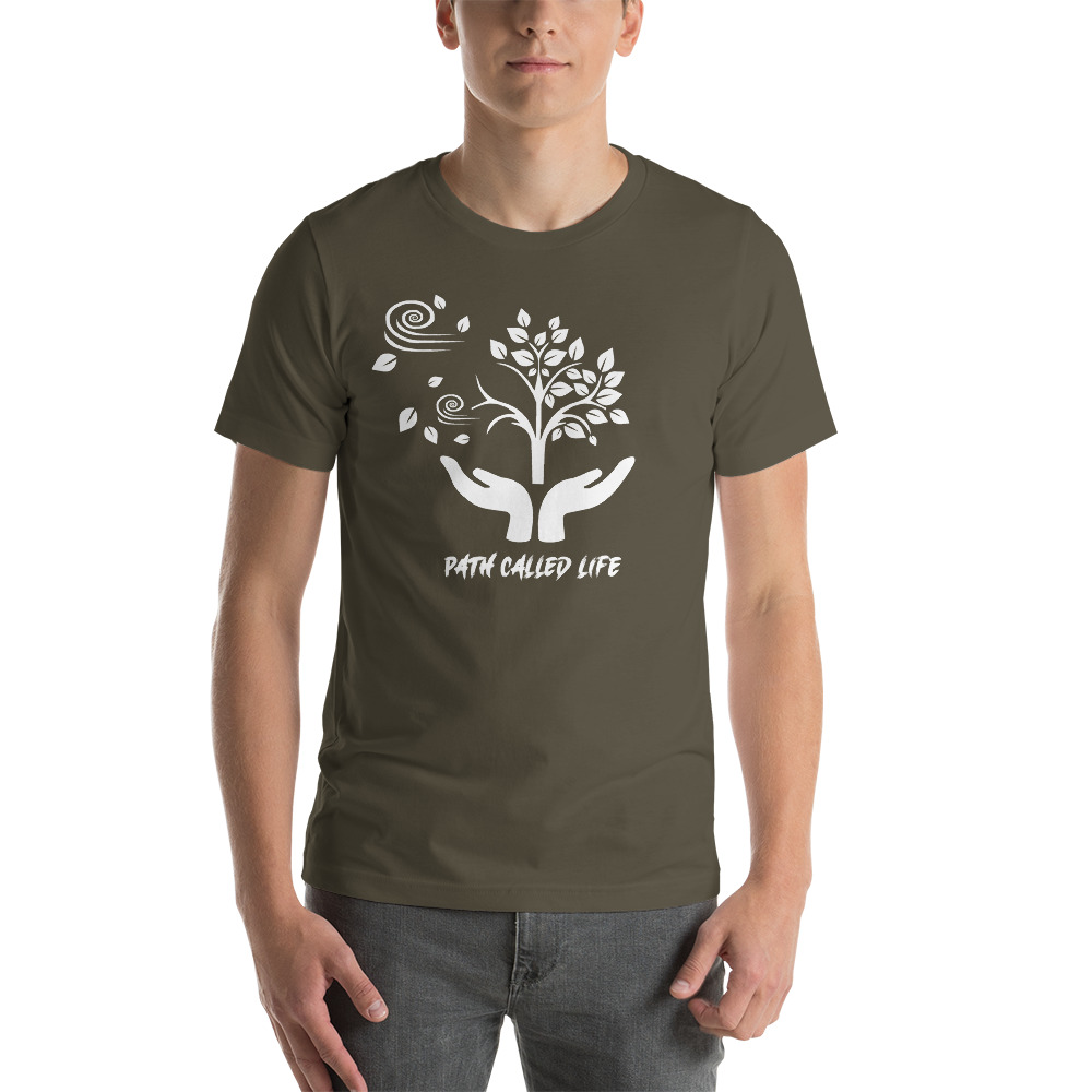 Grey T-shirt Mock Up of a Path Called Life, sold by Live Mic Records, the Bespoke Record Label Service company in America