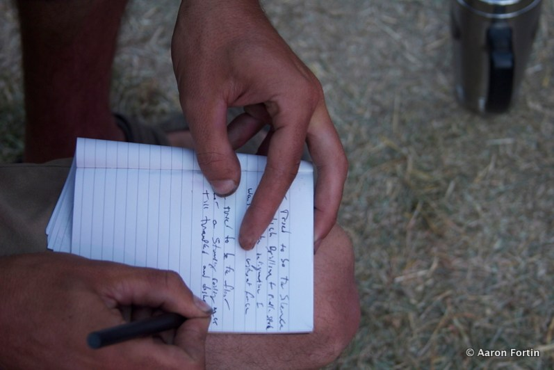 Fan writing lyrics down during Built to Spill, Main Stage, HSMF 2012