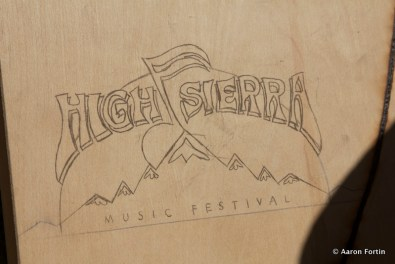 HSMF Logo burned into wood from the Sun, Sun Burnin' Artwork, Outside the Music Hall HSMF 2012 (Artist Unknown)