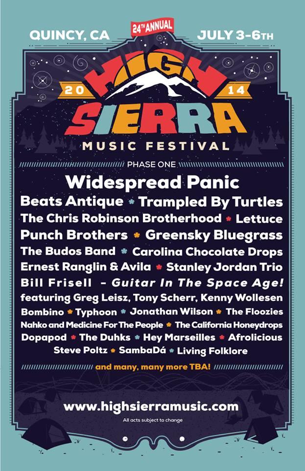 high sierra music festival 2014 lineup