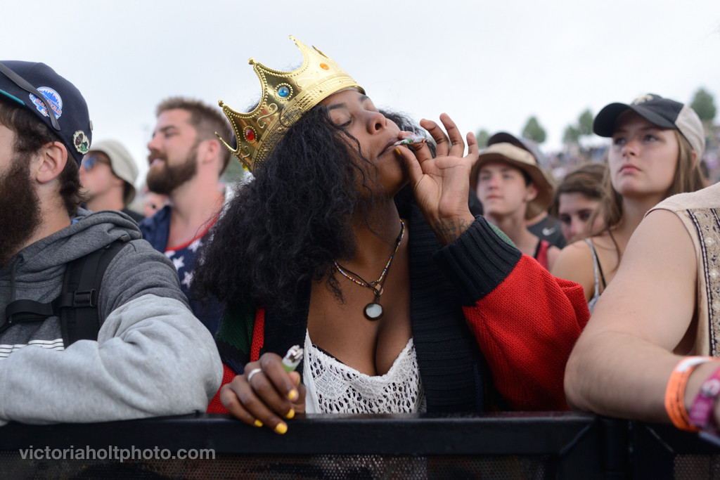 Festival goer enjoys a moment during Schoolboy Q's set on the Sasquatch Stage on Monday, May 25th, 2015.