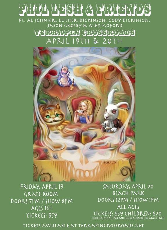 phil lesh and friends april 19-20 2019 terrapin crossroads poster