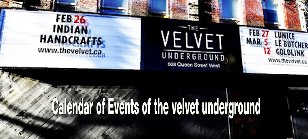 Calendar of Events of the velvet underground