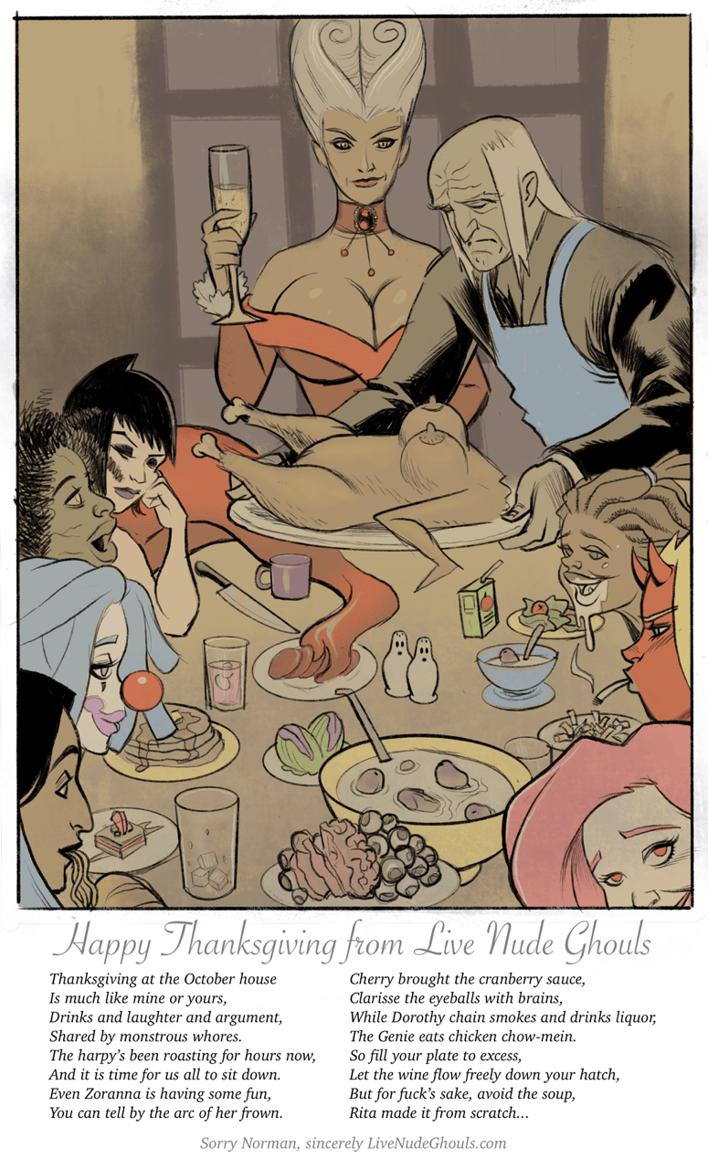 The ghouls sit down for a Thanksgiving feast.