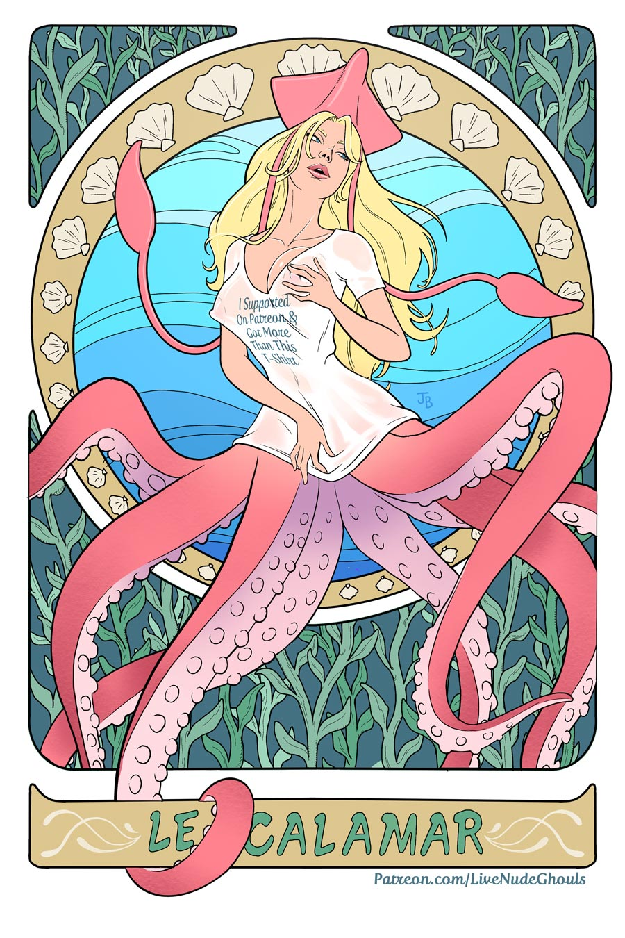 Sexy Squid Woman drawn in a Art Nouveau style - Clean Version