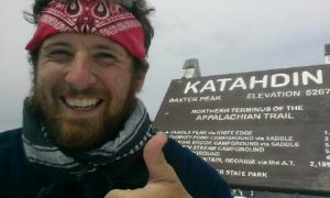 Seth Stivala at the summit of Mount Katahdin