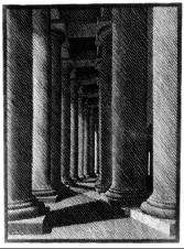 Nocturnal Rome: Colonade of St Peter's 1934 Woodcut. 229mm x 311mm.