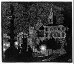 Nocturnal Rome: Santa Maria del Popolo 1934 Woodcut. 285mm x 241mm.