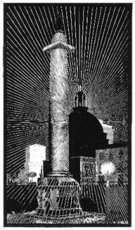 Nocturnal Rome: Trajan's Column 1934 Woodcut. 185mm x 334mm.