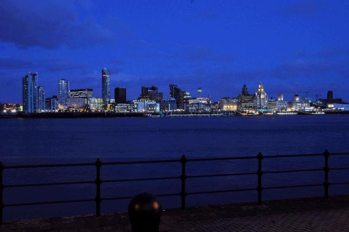 Liverpool's famous waterfront at night