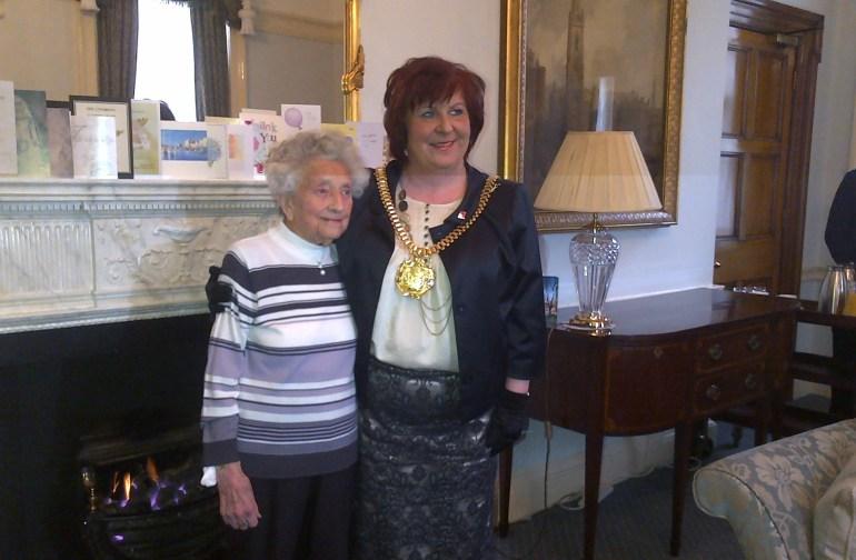 Lord Mayor Sharon Sullivan with 100 year old Dot Jones