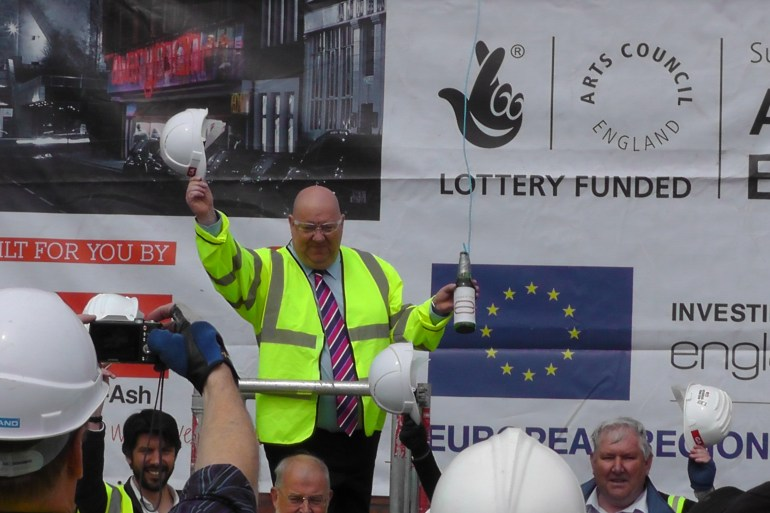 Mayor Anderson at topping out