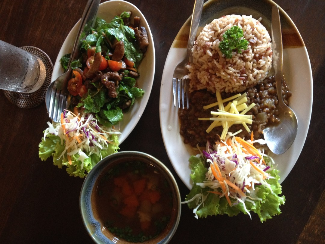 Lentil curry, mushroom salad and vegetable soup at Din Dee in Chiang Mai
