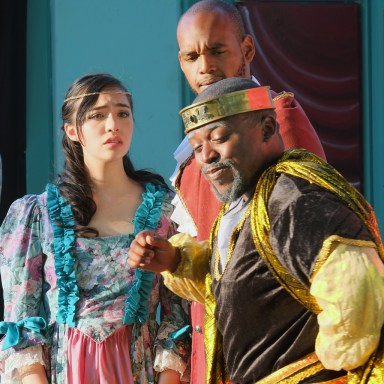 Lear banishes Cordelia from the kingdom while attendent (Roody Lablaze) looks on with disbelief.
