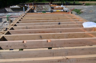 A section of completed floor joists.