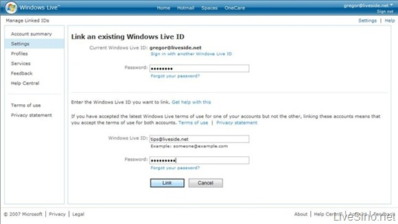 Windows Live Account 更新: 链接 Windows Live ID