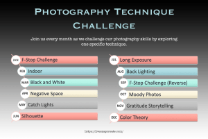 Photography Technique Challenge - Lists challenges for every month