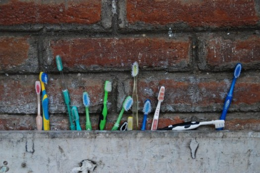 Toothbrushes all in a row