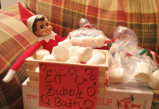 """Elf Bubble Bath! Complete with hot chocolate treats and """"Elf Bubble"""" marshmallows for each child."""