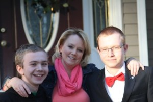 Gretchen Hines and two of her children, Ben (left) and Tyler (right)