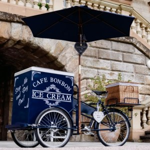 Hire a stylish Ice Cream and Pimms Tricycle for your event!