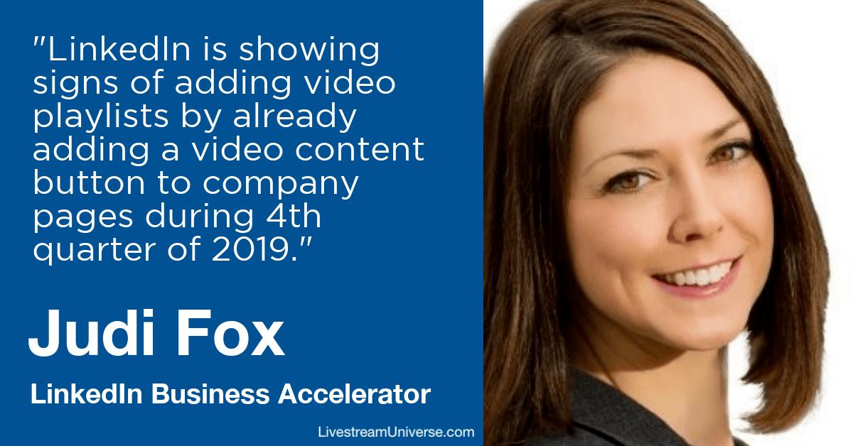 judi fox linkedin video livestream universe 2020 prediction