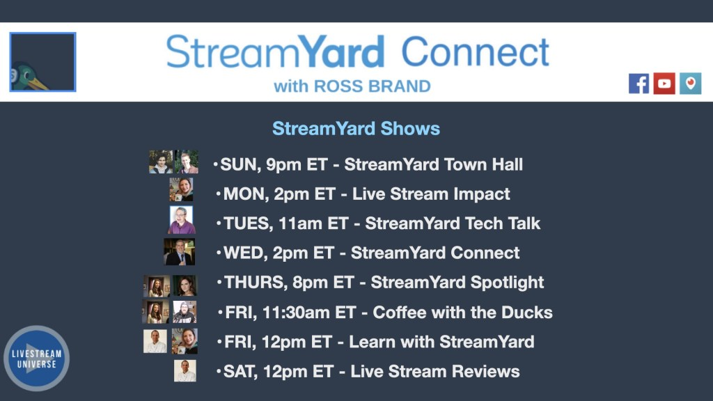 Ep62 StreamYard Schedule of Shows StreamYard Connect with Ross Brand