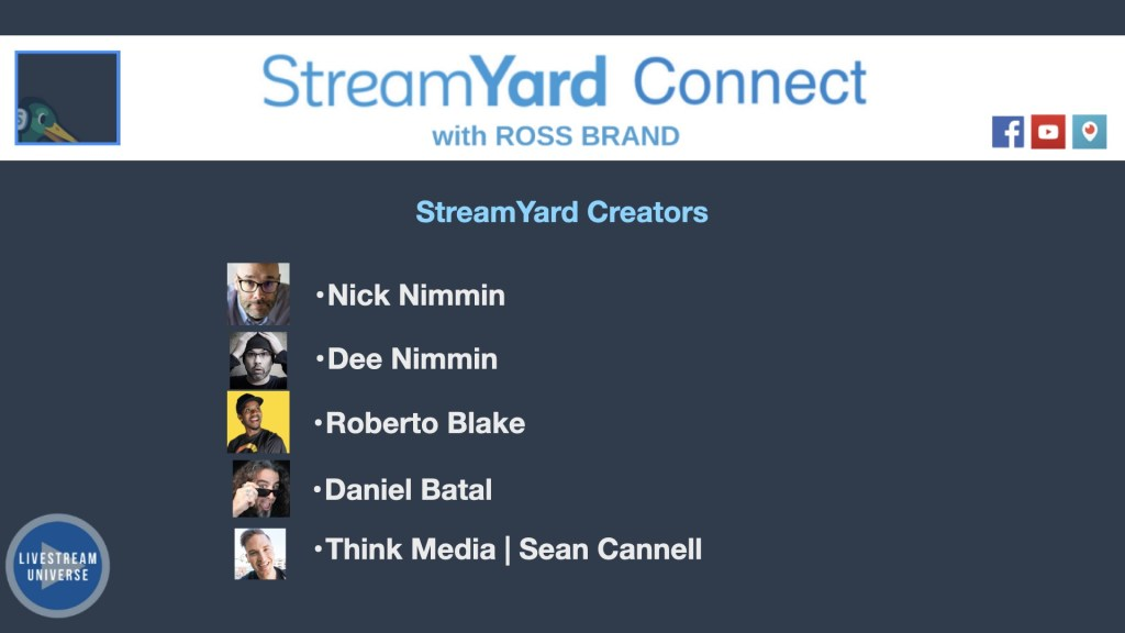 StreamYard Connect with Ross Brand YouTube Creators