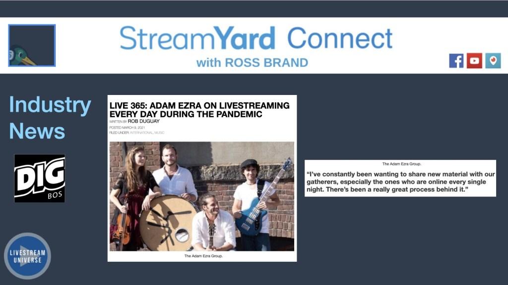 adam ezra streamyard connect ross brand