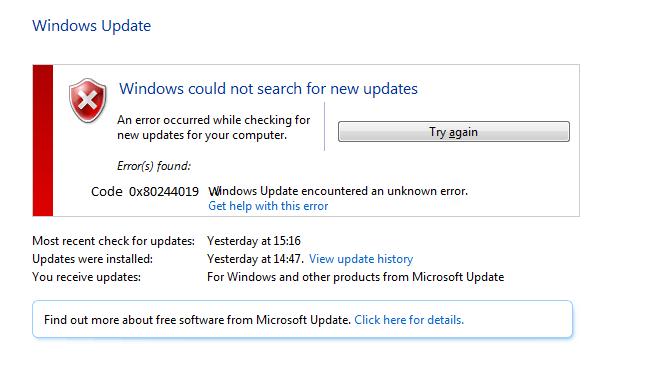 Error code 0x80244019