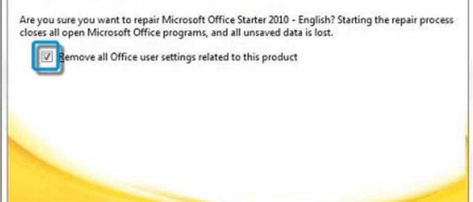 Uninstall Office program